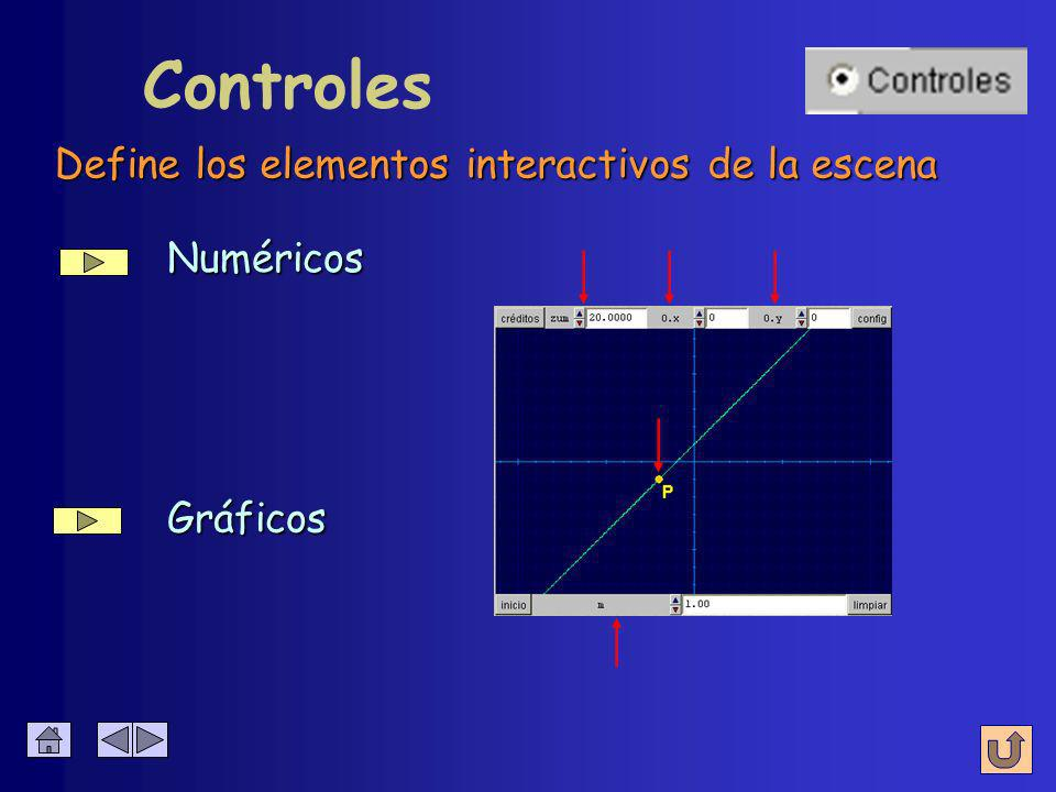 è Espacio è Controles è Auxiliares è Gráficos è Animación Panel