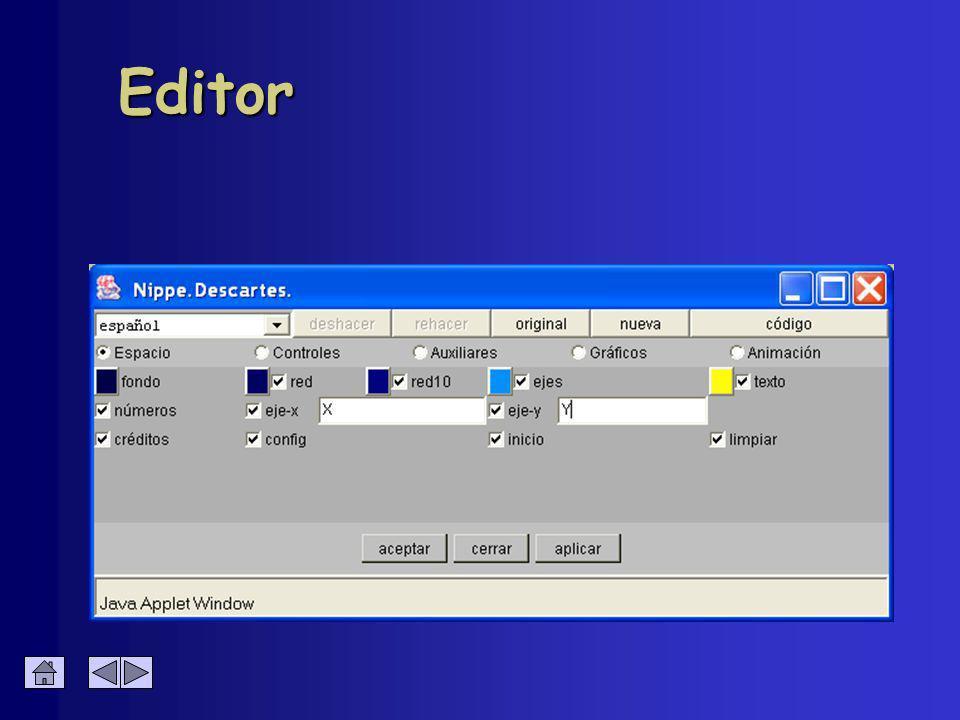 Configuración de Flecha Color del exterior è Coordenadas è Color è Flecha è Ancho è Decimales è Texto è Punta