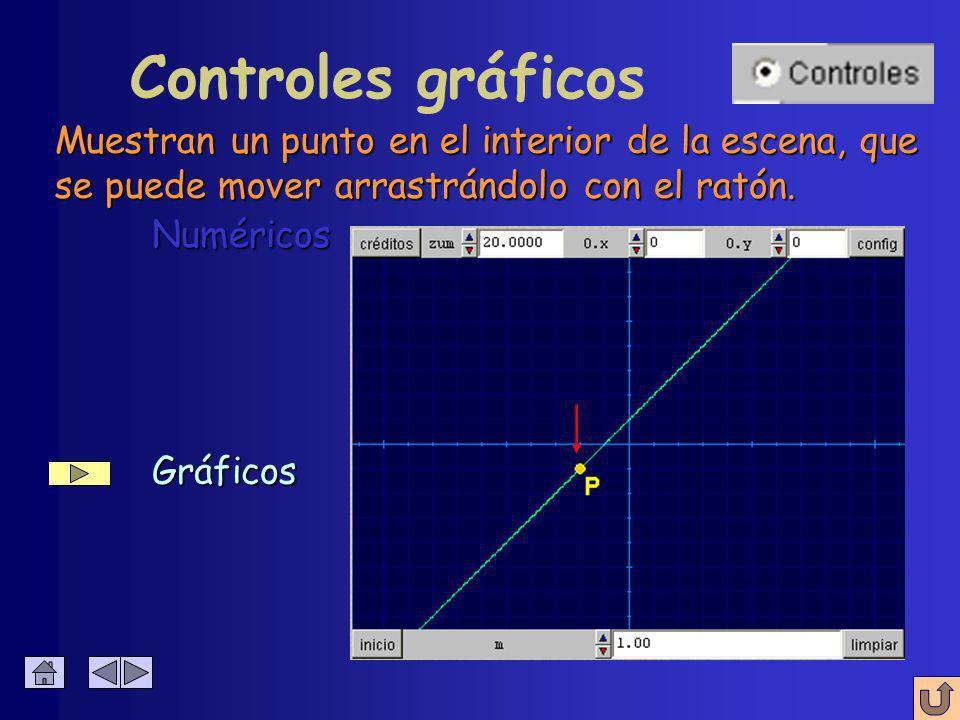 Gráficos Gráficos Controles numéricos Numéricos Numéricos Aparecen en el borde de la escena con dos pulsadores que permiten modificar su valor.