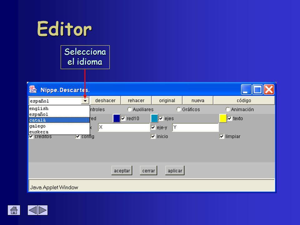 Resumen de parámetros Panel Espacio Fondo (color) Red Ejes Texto è (Créditos, Config, Inicio y Limpiar) è Botones (Créditos, Config, Inicio y Limpiar) è Activación + color è Activación + nombre Eje X Eje Y Números