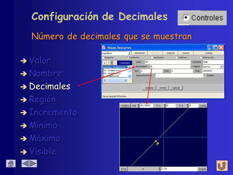 Número de decimales que se muestran Configuración de Decimales è Nombre è Valor è Decimales è Región è Incremento è Mínimo è Máximo è Visible