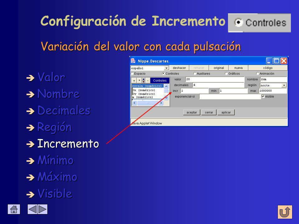 Configuración de Región è Nombre è Valor è Decimales è Región è Incremento è Mínimo è Máximo norte sur Lugar donde aparece el control exterior