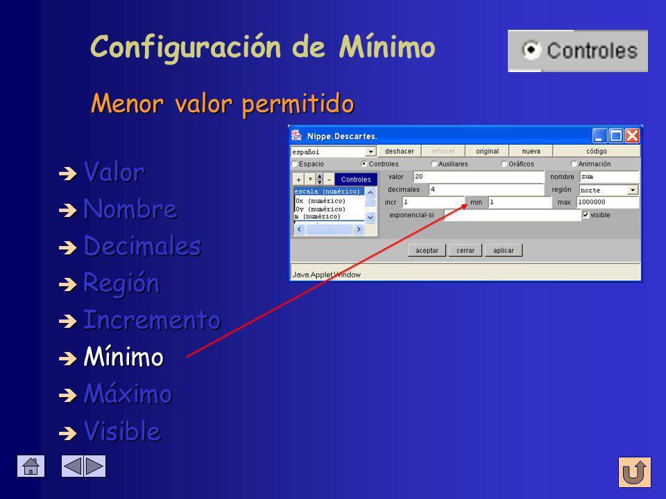 Configuración de Incremento è Nombre è Valor è Decimales è Región è Incremento è Mínimo è Máximo Variación del valor con cada pulsación è Visible