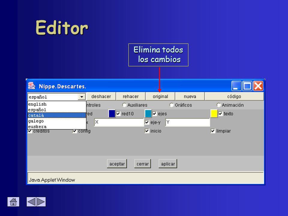 Editor Elimina todos los cambios