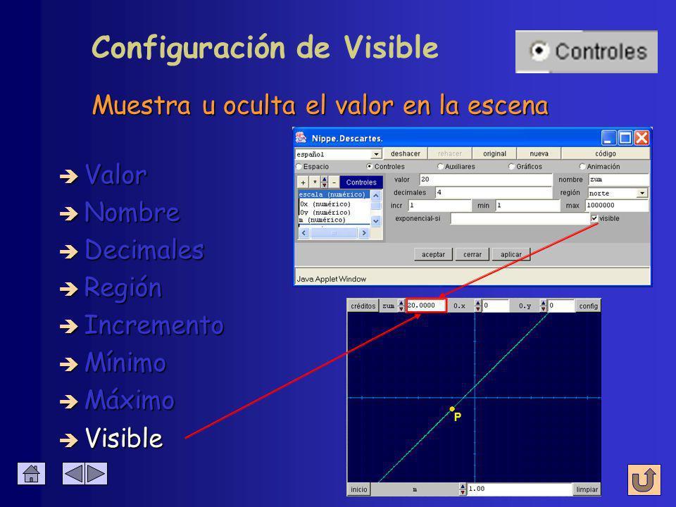 Configuración de Visible è Nombre è Visible è Valor è Decimales è Región è Incremento è Mínimo è Máximo Muestra u oculta el valor en la escena