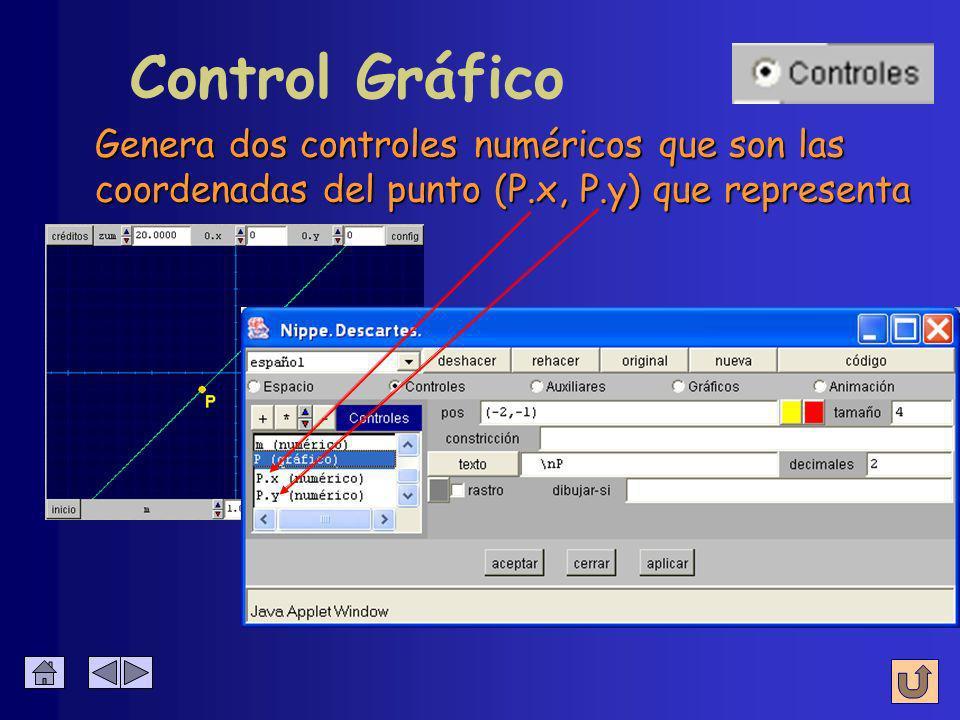Control Gráfico Se representa con un punto en el interior de la escena