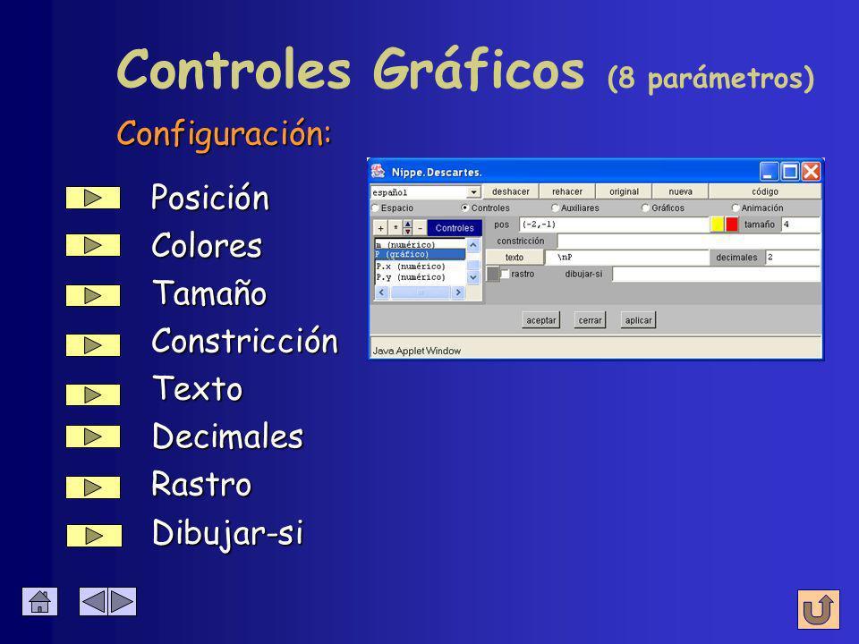 Control Gráfico Genera dos controles numéricos que son las coordenadas del punto (P.x, P.y) que representa