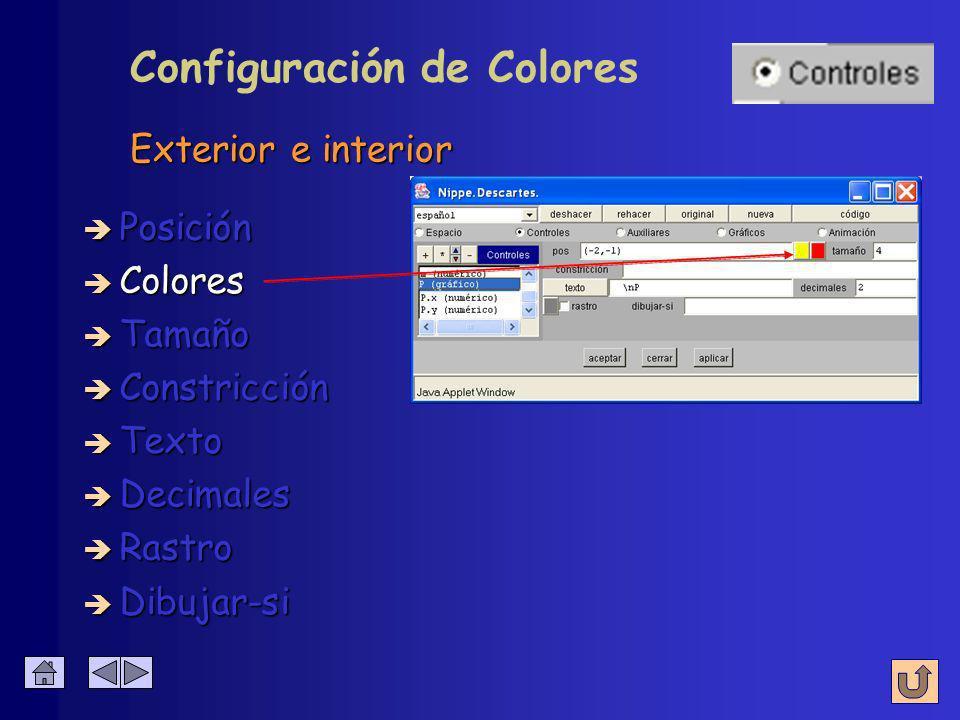 Coordenadas donde aparece al comenzar è Colores è Posición inicial è Tamaño è Constricción è Texto è Decimales è Rastro Configuración de Pos è Dibujar