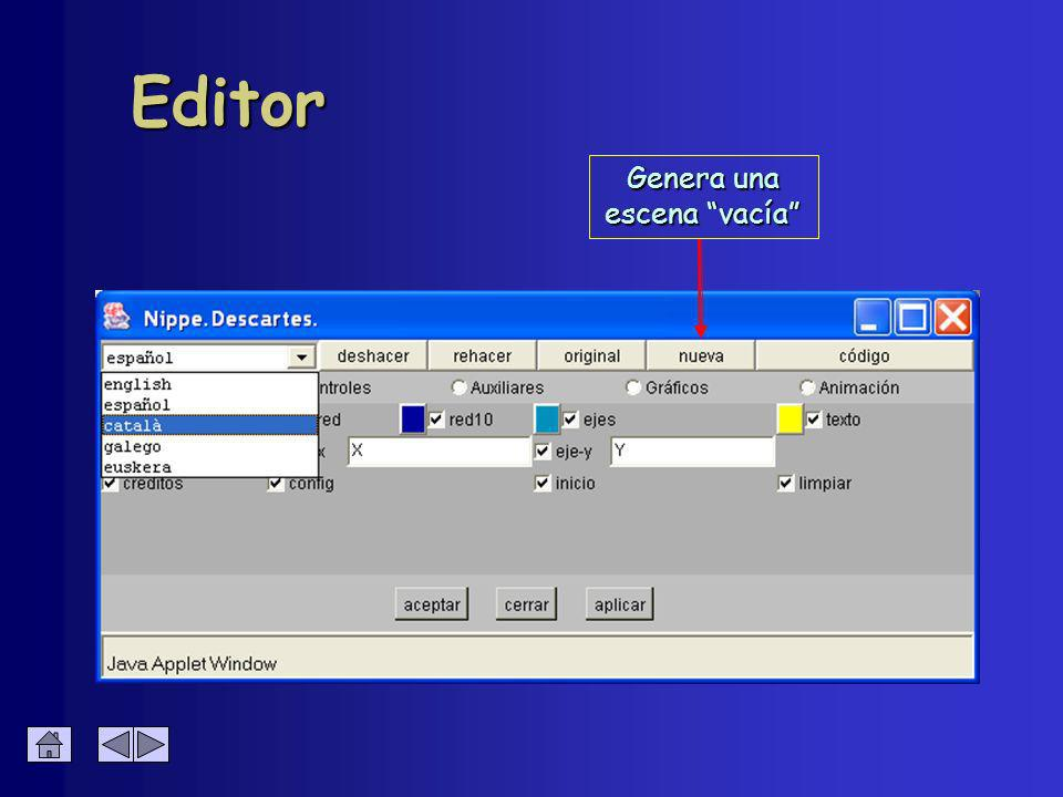 Controles Numéricos Numéricos Gráficos Gráficos Define los elementos interactivos de la escena