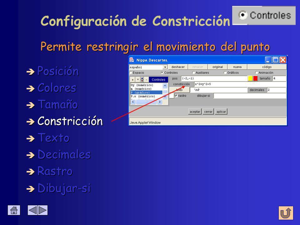 Radio en puntos ( pixeles ) è Colores è Posición è Tamaño è Constricción è Texto è Decimales è Rastro Configuración de Tamaño è Dibujar-si
