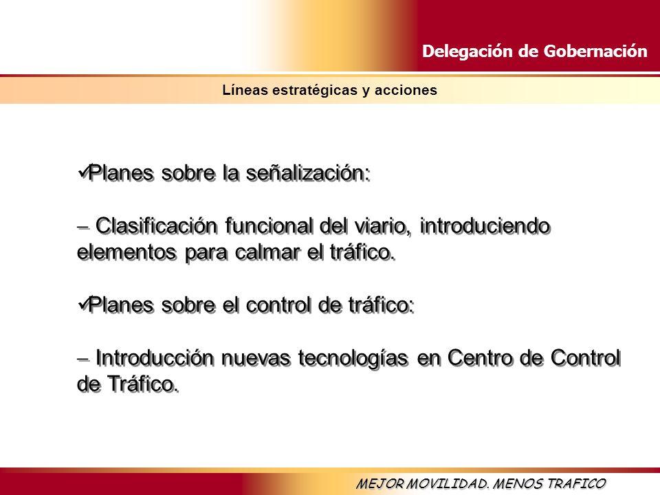 Delegación de Gobernación MEJOR MOVILIDAD. MENOS TRAFICO Líneas estratégicas y acciones Planes sobre la señalización: Clasificación funcional del viar