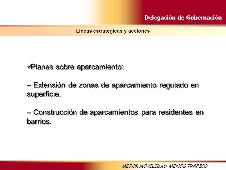 Delegación de Gobernación MEJOR MOVILIDAD. MENOS TRAFICO Líneas estratégicas y acciones Planes sobre aparcamiento: Extensión de zonas de aparcamiento