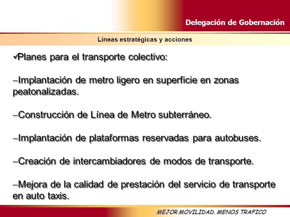 Delegación de Gobernación MEJOR MOVILIDAD. MENOS TRAFICO Líneas estratégicas y acciones Planes para el transporte colectivo: Implantación de metro lig