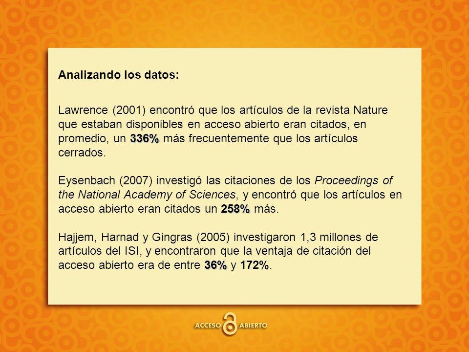 Analizando los datos: 336% 258% 36% Lawrence (2001) encontró que los artículos de la revista Nature que estaban disponibles en acceso abierto eran citados, en promedio, un 336% más frecuentemente que los artículos cerrados.