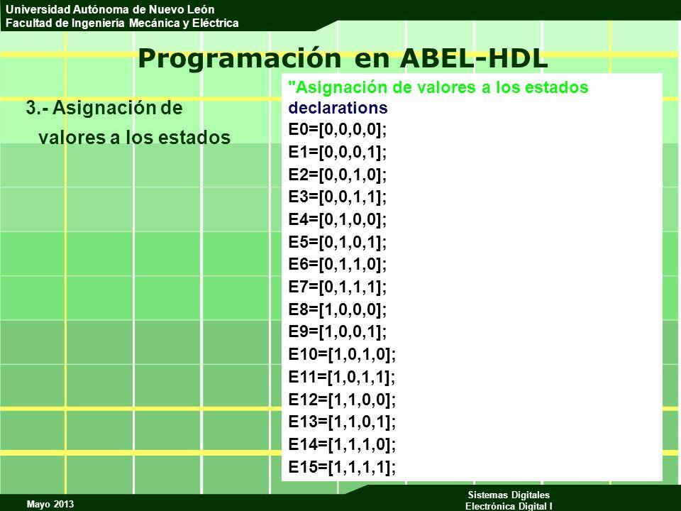 Mayo 2013 Sistemas Digitales Electrónica Digital I Universidad Autónoma de Nuevo León Facultad de Ingeniería Mecánica y Eléctrica Programación en ABEL