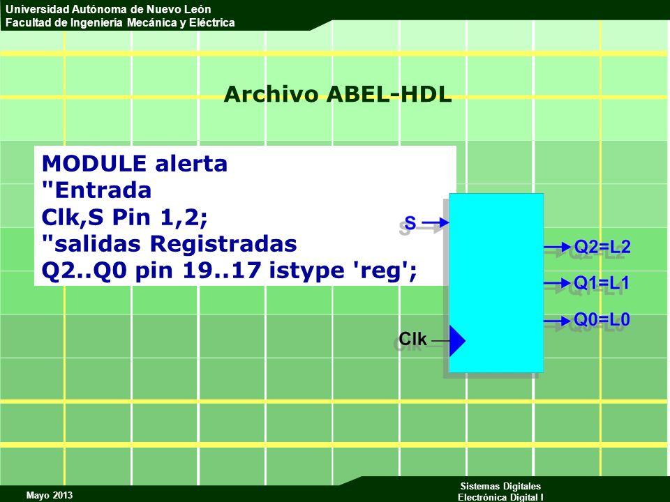 Mayo 2013 Sistemas Digitales Electrónica Digital I Universidad Autónoma de Nuevo León Facultad de Ingeniería Mecánica y Eléctrica Archivo ABEL-HDL MOD