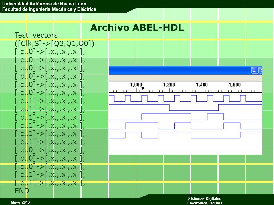 Mayo 2013 Sistemas Digitales Electrónica Digital I Universidad Autónoma de Nuevo León Facultad de Ingeniería Mecánica y Eléctrica Archivo ABEL-HDL Tes