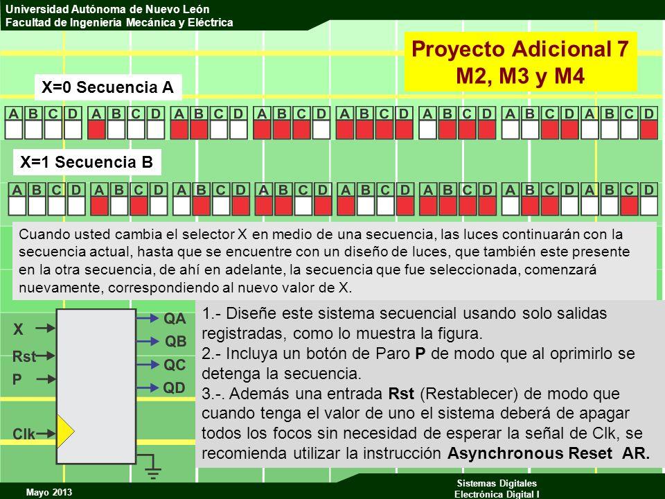 Mayo 2013 Sistemas Digitales Electrónica Digital I Universidad Autónoma de Nuevo León Facultad de Ingeniería Mecánica y Eléctrica Proyecto Adicional 7
