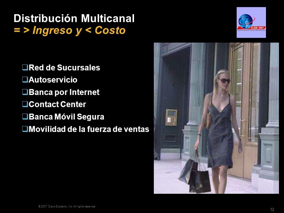 © 2007 Cisco Systems, Inc. All rights reserved. 12 Distribución Multicanal = > Ingreso y < Costo Red de Sucursales Autoservicio Banca por Internet Con