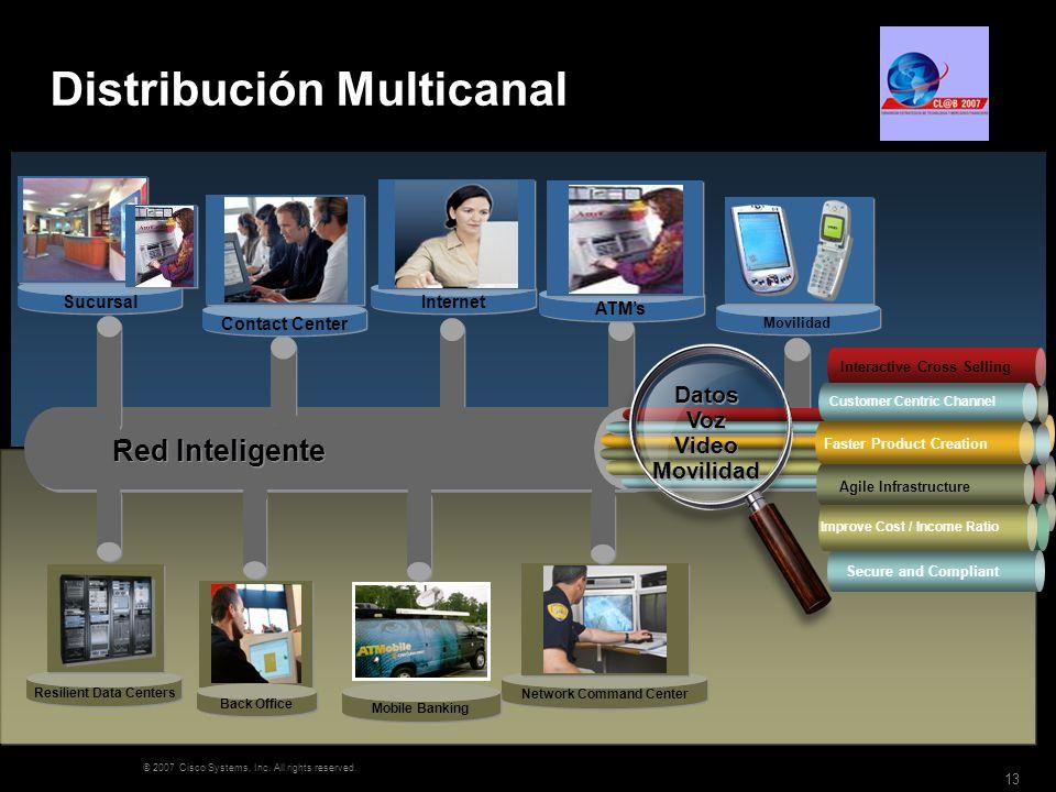 © 2007 Cisco Systems, Inc. All rights reserved. 13 Distribución Multicanal Video SurveillanceAlarms Video SurveillanceAlarms Red Inteligente Internet