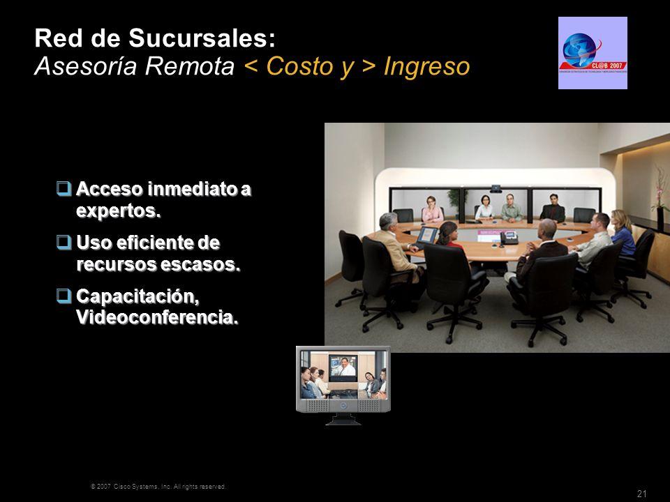 © 2007 Cisco Systems, Inc. All rights reserved. 21 Red de Sucursales: Asesoría Remota Ingreso Acceso inmediato a expertos. Acceso inmediato a expertos