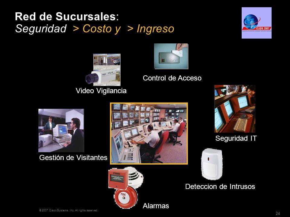 © 2007 Cisco Systems, Inc. All rights reserved. 24 Red de Sucursales: Seguridad > Costo y > Ingreso Video Vigilancia Control de Acceso Alarmas Detecci