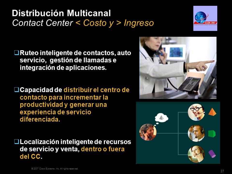 © 2007 Cisco Systems, Inc. All rights reserved. 27 Distribución Multicanal Contact Center Ingreso 64k 128k 256k 512k 1M… Ruteo inteligente de contacto