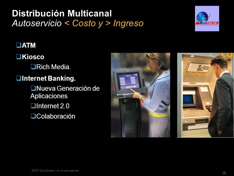 © 2007 Cisco Systems, Inc. All rights reserved. 28 Distribución Multicanal Autoservicio Ingreso ATM Kiosco Rich Media. Internet Banking. Nueva Generac
