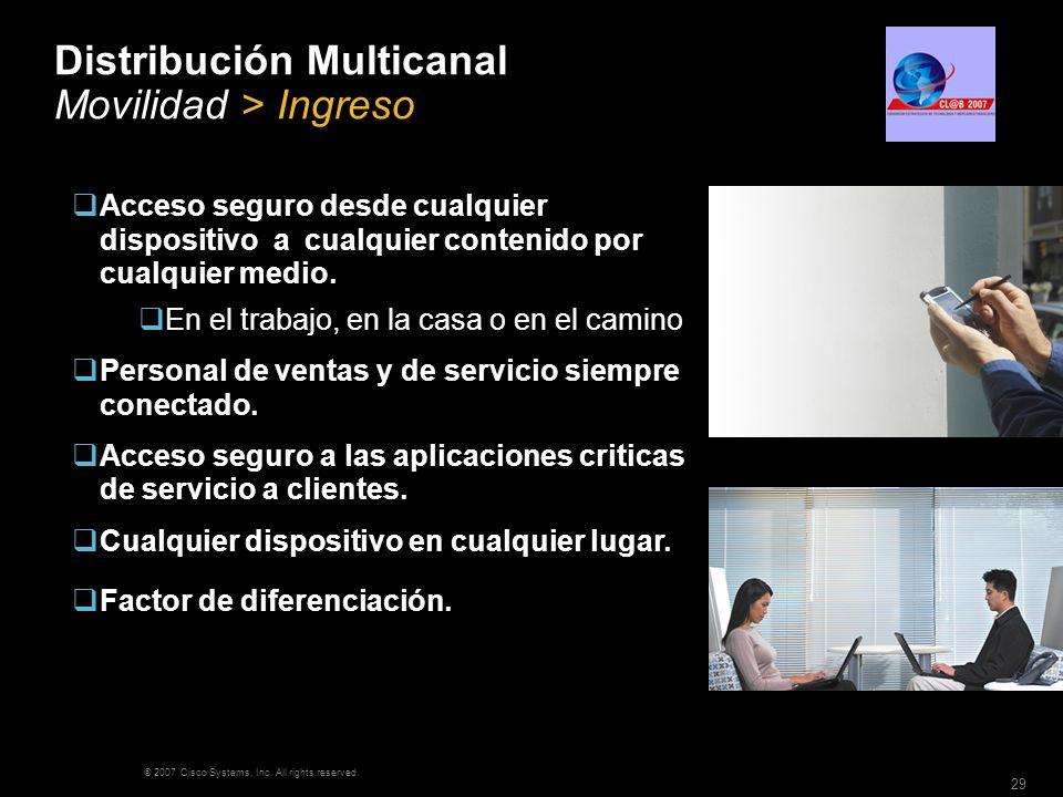 © 2007 Cisco Systems, Inc. All rights reserved. 29 Distribución Multicanal Movilidad > Ingreso Acceso seguro desde cualquier dispositivo a cualquier c
