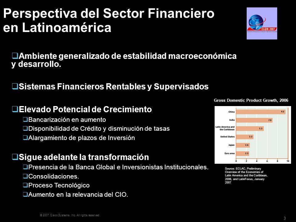 © 2007 Cisco Systems, Inc. All rights reserved. 3 Perspectiva del Sector Financiero en Latinoamérica Ambiente generalizado de estabilidad macroeconómi