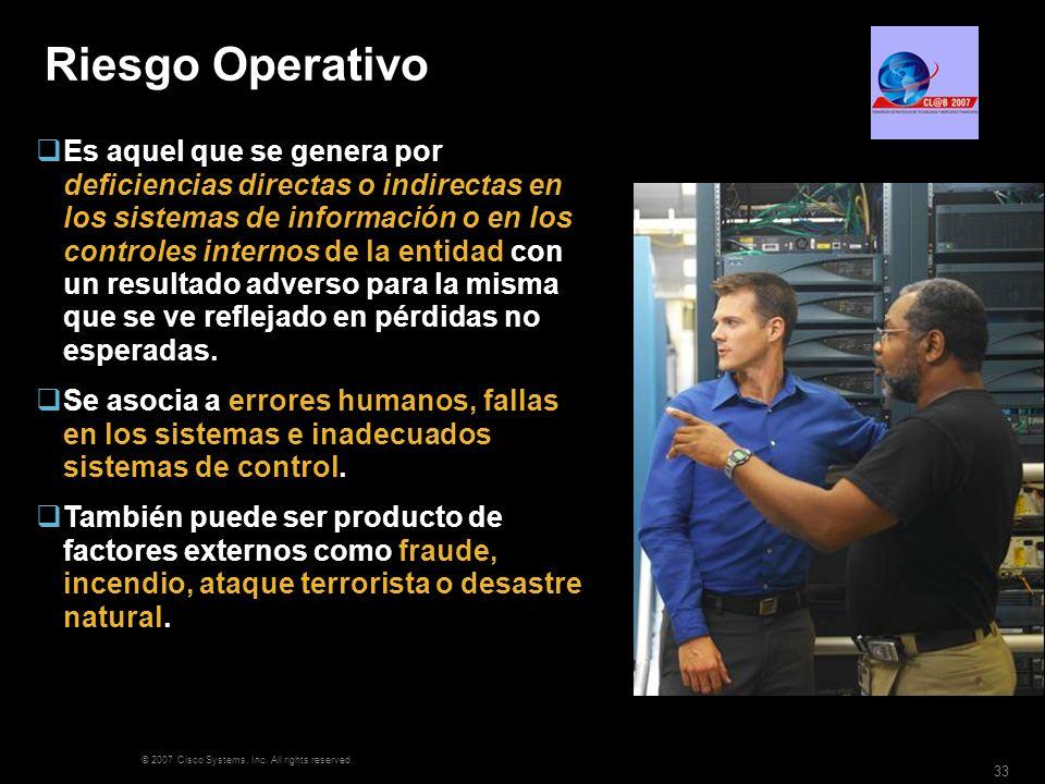 © 2007 Cisco Systems, Inc. All rights reserved. 33 Riesgo Operativo Es aquel que se genera por deficiencias directas o indirectas en los sistemas de i