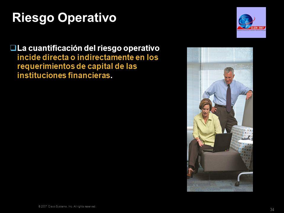 © 2007 Cisco Systems, Inc. All rights reserved. 34 Riesgo Operativo La cuantificación del riesgo operativo incide directa o indirectamente en los requ