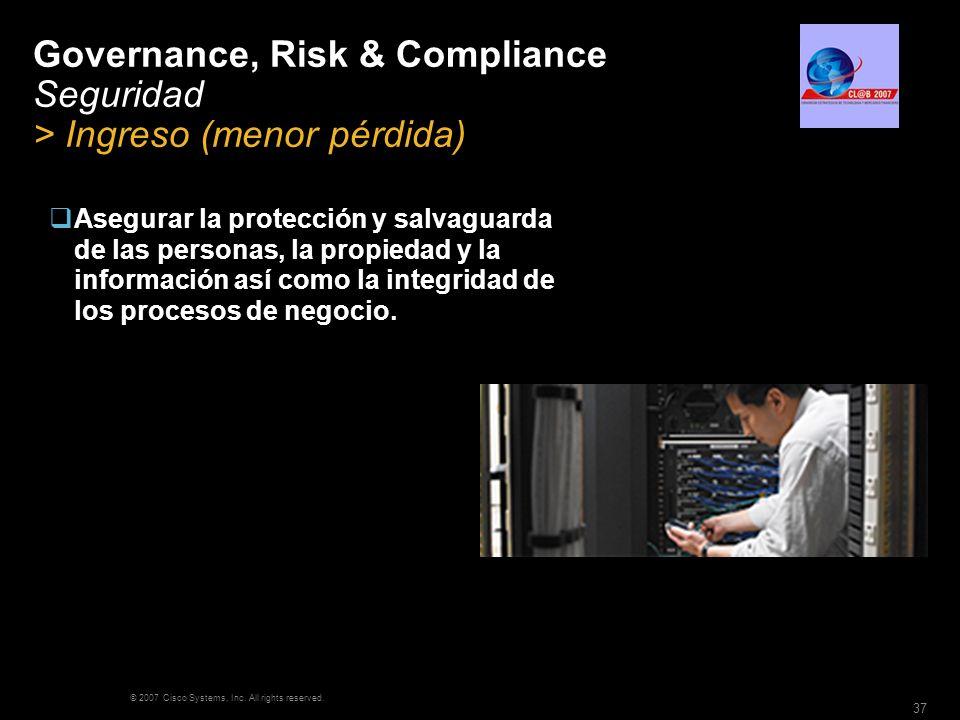 © 2007 Cisco Systems, Inc. All rights reserved. 37 Governance, Risk & Compliance Seguridad > Ingreso (menor pérdida) Asegurar la protección y salvagua