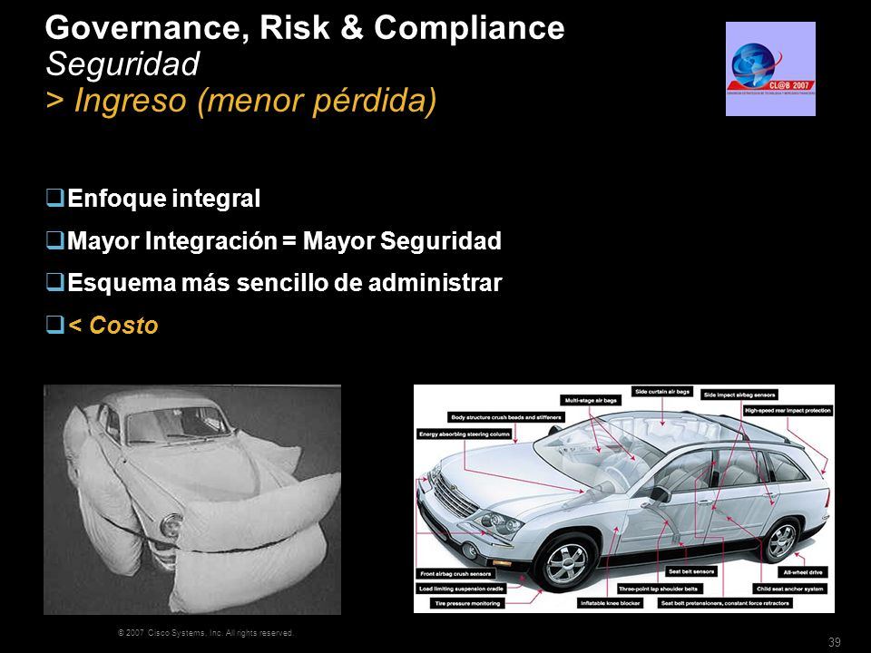 © 2007 Cisco Systems, Inc. All rights reserved. 39 Governance, Risk & Compliance Seguridad > Ingreso (menor pérdida) Enfoque integral Mayor Integració
