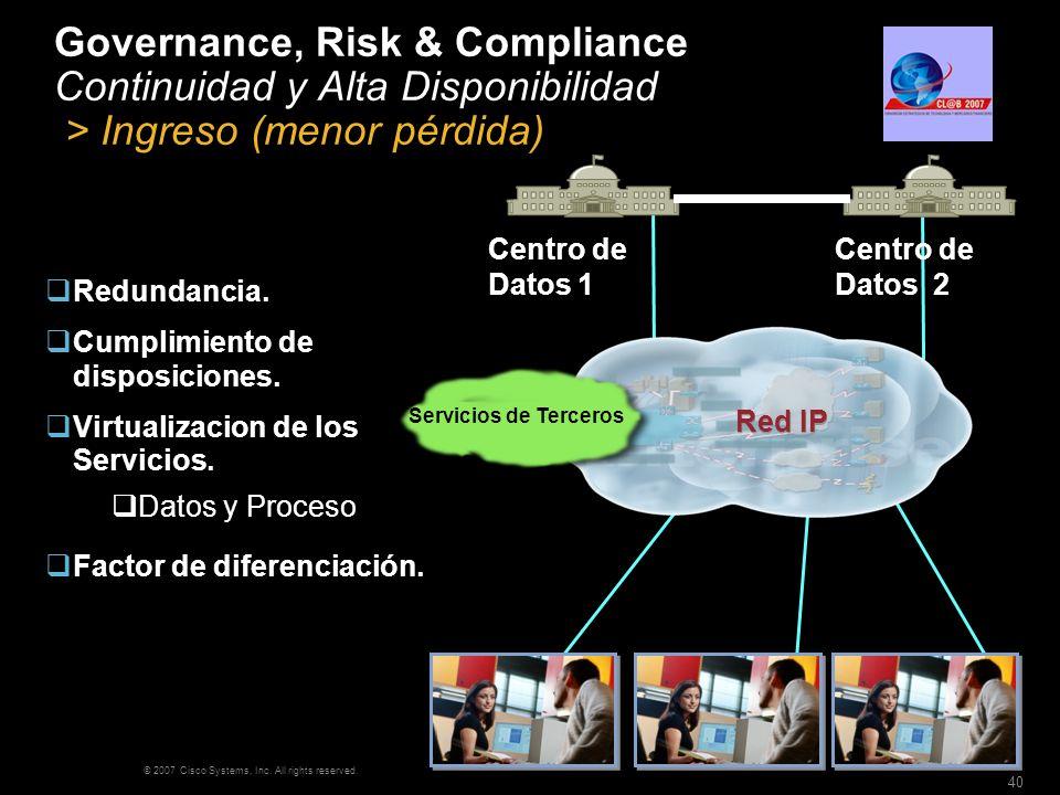 © 2007 Cisco Systems, Inc. All rights reserved. 40 Governance, Risk & Compliance Continuidad y Alta Disponibilidad > Ingreso (menor pérdida) Redundanc