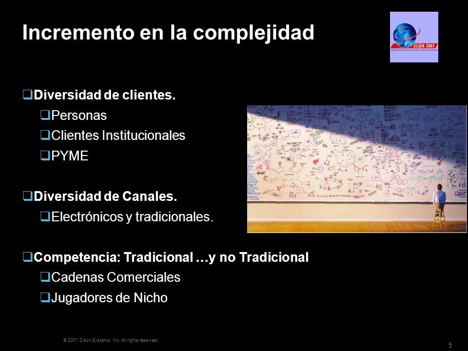 © 2007 Cisco Systems, Inc. All rights reserved. 5 Incremento en la complejidad Diversidad de clientes. Personas Clientes Institucionales PYME Diversid