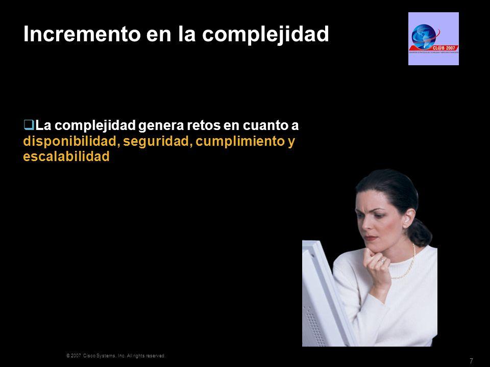 © 2007 Cisco Systems, Inc. All rights reserved. 7 Incremento en la complejidad La complejidad genera retos en cuanto a disponibilidad, seguridad, cump