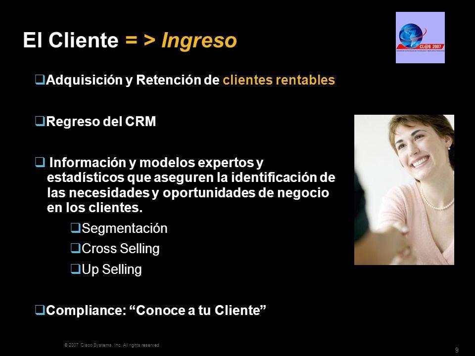 © 2007 Cisco Systems, Inc. All rights reserved. 9 El Cliente = > Ingreso Adquisición y Retención de clientes rentables Regreso del CRM Información y m