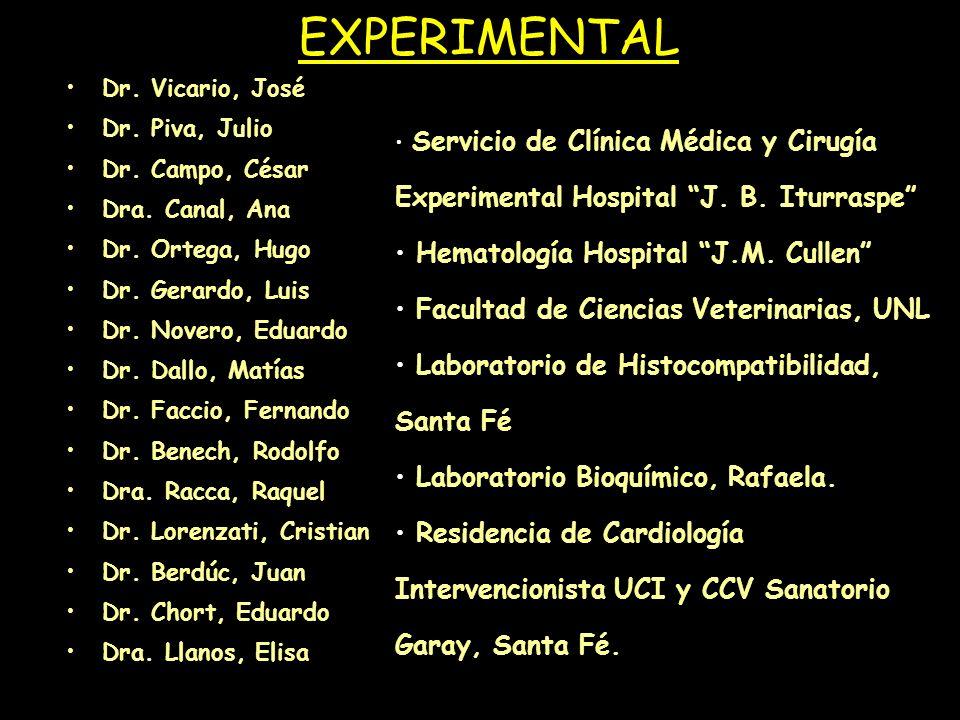 EXPERIMENTAL Dr. Vicario, José Dr. Piva, Julio Dr. Campo, César Dra. Canal, Ana Dr. Ortega, Hugo Dr. Gerardo, Luis Dr. Novero, Eduardo Dr. Dallo, Matí