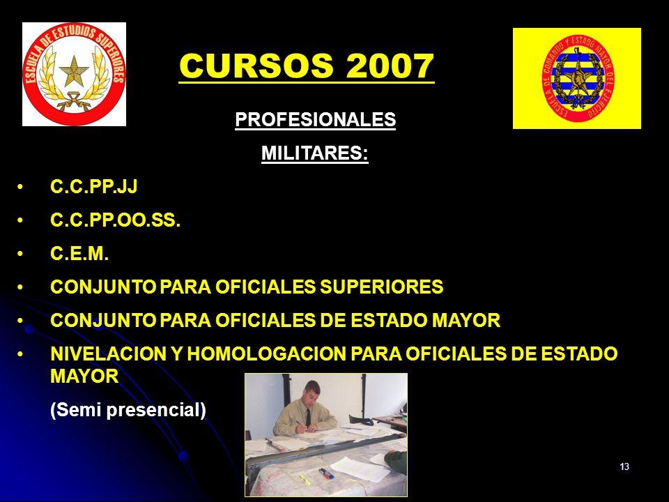 13 PROFESIONALES MILITARES: C.C.PP.JJ C.C.PP.OO.SS.