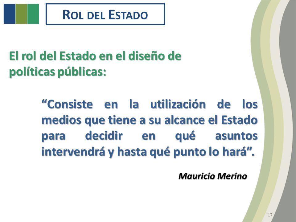 R OL DEL E STADO El rol del Estado en el diseño de políticas públicas: Mauricio Merino Consiste en la utilización de los medios que tiene a su alcance el Estado para decidir en qué asuntos intervendrá y hasta qué punto lo hará.