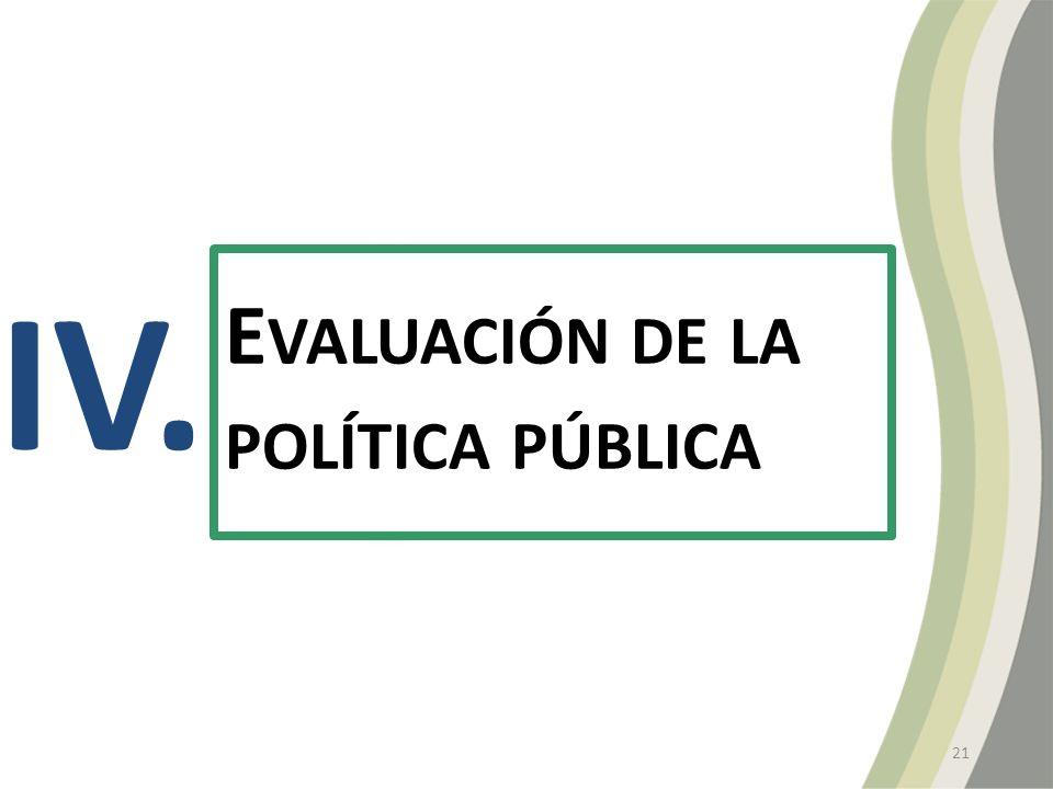 IV. E VALUACIÓN DE LA POLÍTICA PÚBLICA 21