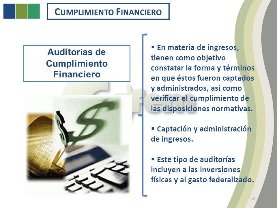 C UMPLIMIENTO F INANCIERO 32 Auditor í as de Cumplimiento Financiero En materia de ingresos, tienen como objetivo constatar la forma y términos en que éstos fueron captados y administrados, así como verificar el cumplimiento de las disposiciones normativas.