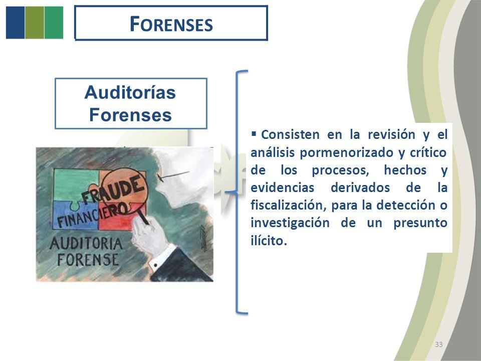 F ORENSES 33 Auditorías Forenses Consisten en la revisión y el análisis pormenorizado y crítico de los procesos, hechos y evidencias derivados de la fiscalización, para la detección o investigación de un presunto ilícito.