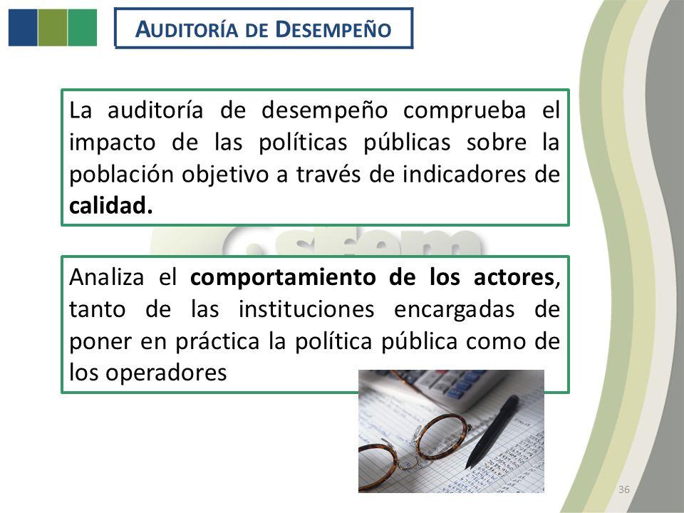 36 La auditoría de desempeño comprueba el impacto de las políticas públicas sobre la población objetivo a través de indicadores de calidad.