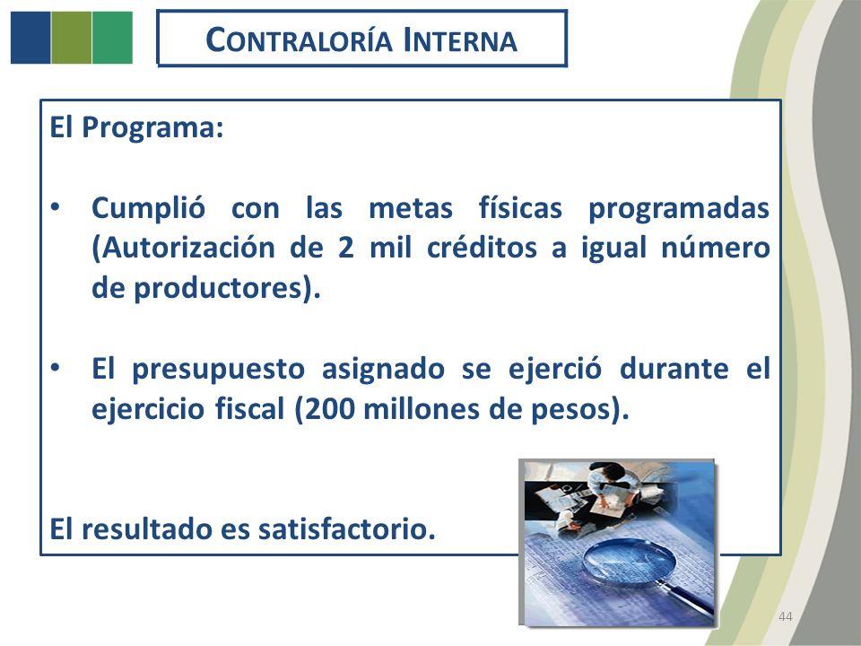44 C ONTRALORÍA I NTERNA El Programa: Cumplió con las metas físicas programadas (Autorización de 2 mil créditos a igual número de productores).