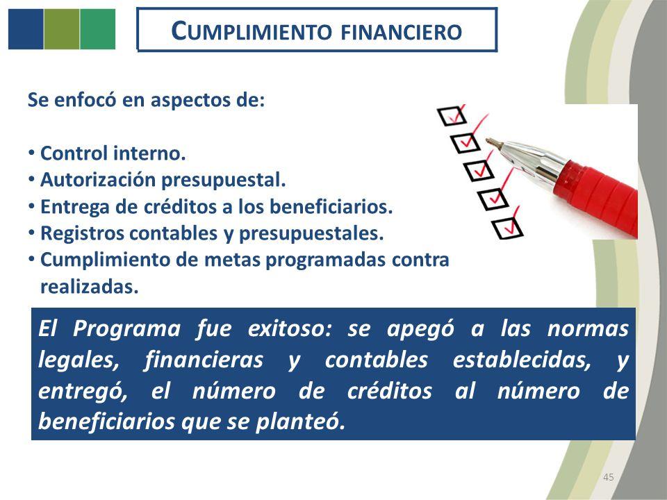 45 C UMPLIMIENTO FINANCIERO Se enfocó en aspectos de: Control interno.