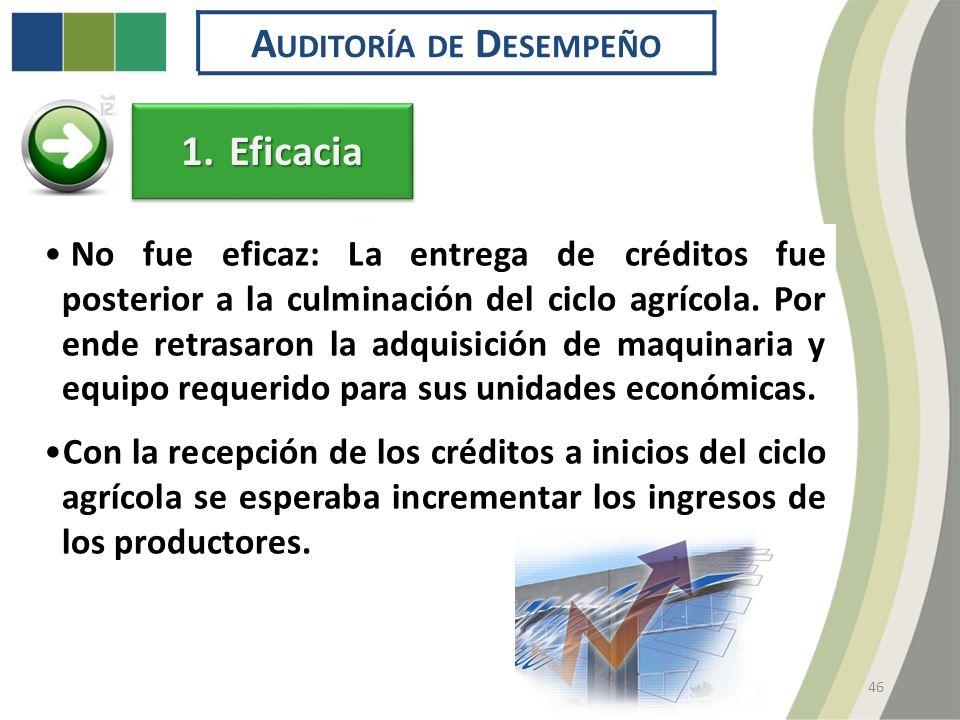 46 A UDITORÍA DE D ESEMPEÑO No fue eficaz: La entrega de créditos fue posterior a la culminación del ciclo agrícola.