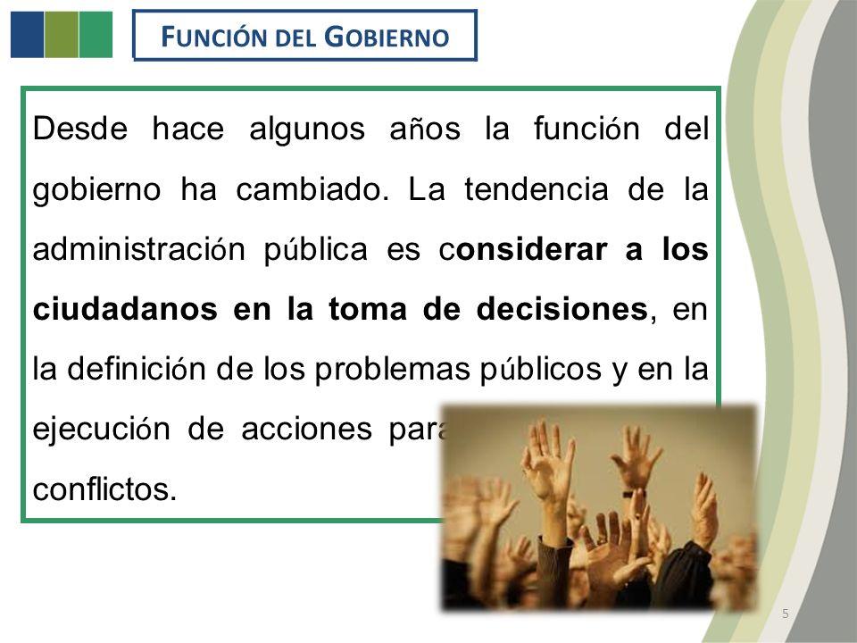 F UNCIÓN DEL G OBIERNO 5 Desde hace algunos a ñ os la funci ó n del gobierno ha cambiado.