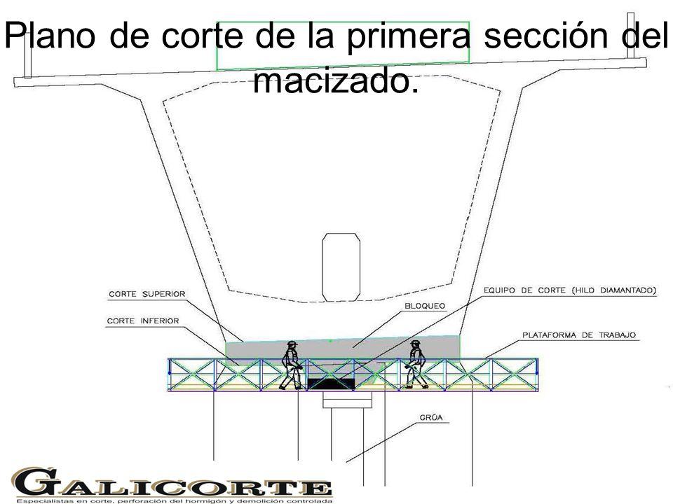 Plano de corte de la primera sección del macizado.